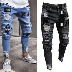 men's jeans, trousers, holepant, Casual pants