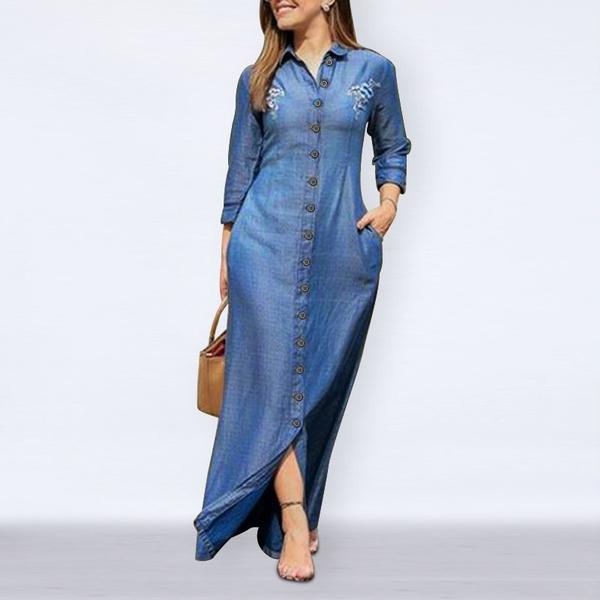 denim dress, dressesforwomen, Embroidery, Long Sleeve