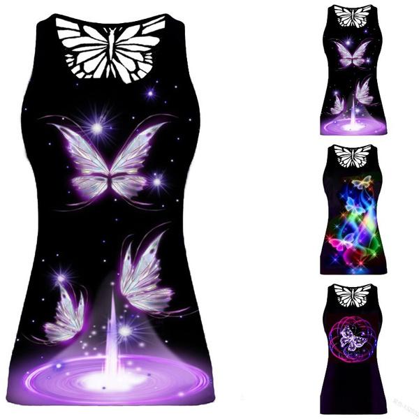 butterflyprint, Women Vest, Vest, Plus Size