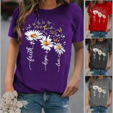 Summer, Flowers, Slim T-shirt, Sleeve