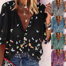 butterfly, blouse, Plus Size, Shirt
