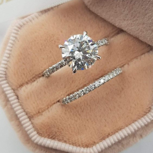 Sterling, Engagement Wedding Ring Set, 925 silver rings, Romantic