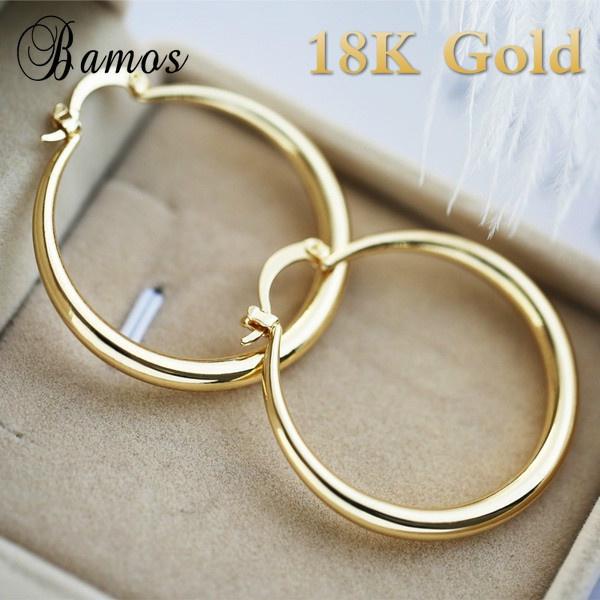 Hoop Earring, Jewelry, gold, Simple