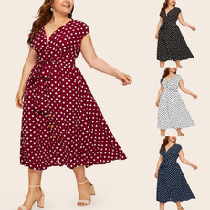 summer dress, Lace, Deep V-neck Dress, waistdres
