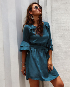 solidcolordre, Classics, Dress, 荷叶袖连衣裙