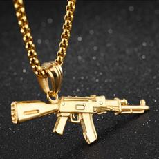 Chain Necklace, Jewelry, gunpendantnecklace, goldplatednecklace