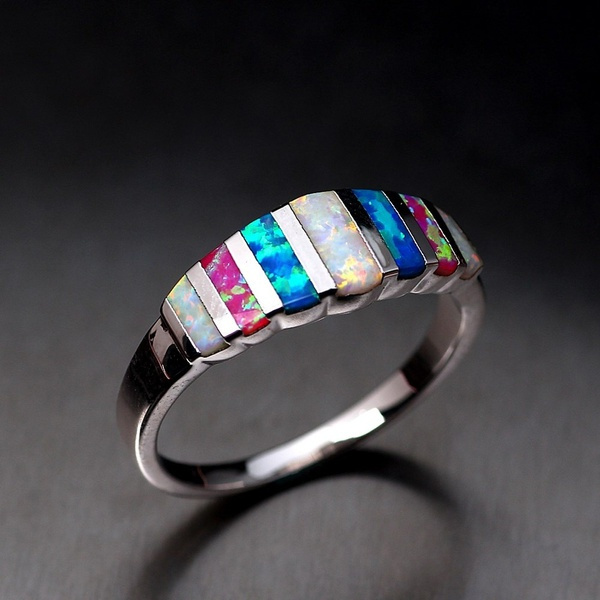 E, colorfulopalring, 925 silver rings, Silver Ring