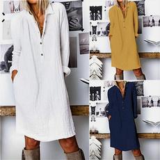 Plus Size, cottonlinen, Sleeve, Long Sleeve