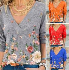 blouse, Deep V-Neck, Fashion, Floral print