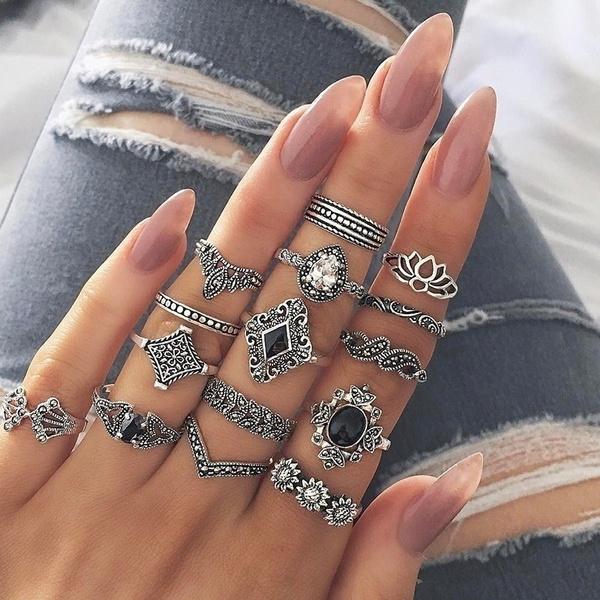 Sterling, bohemia, Crystal, crystal ring