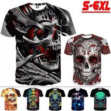 Mens T Shirt, Plus Size, skull, Sleeve