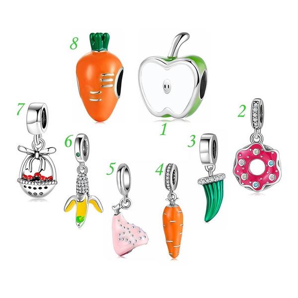 silvercharm, braceletdiy, Apple, carrotcharm