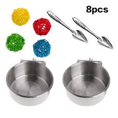 Steel, Stainless Steel, feedingspoon, parrotfeedingdishcup