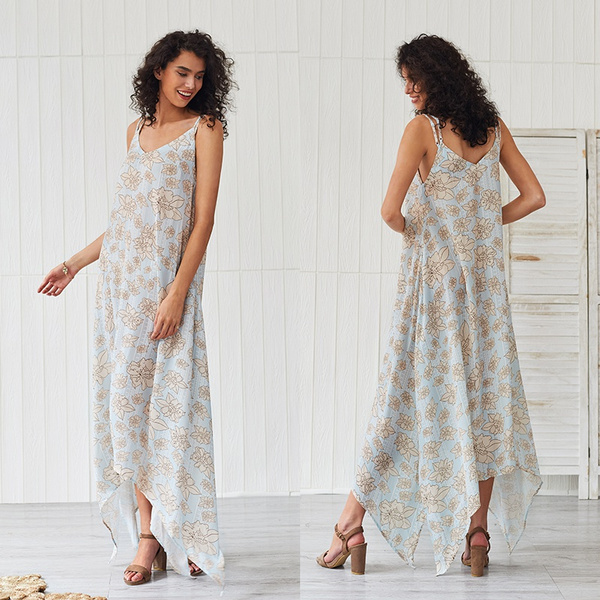 Summer, Fashion, Floral print, long dress