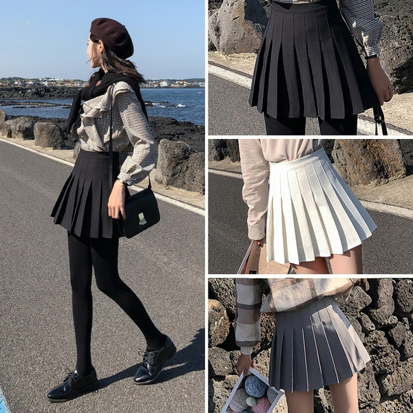 collegestyle, high waist, ladyskirt, Pleated