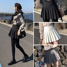 collegestyle, high waist, ladyskirt, Pleated