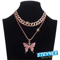 cubanlinkchainchocker, butterflynecklaceforwomenlongwildclaviclechain, Chain Necklace, Bling