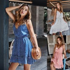 sleeveless, Fashion, printeddresse, polka dot