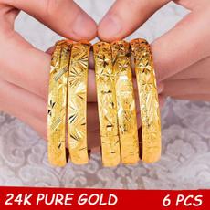 Women, 24kgoldbangle, Wedding Accessories, gold