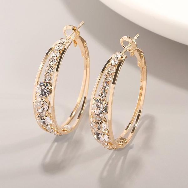 DIAMOND, gold, wedding earrings, americanretro