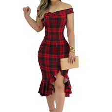 solid, Plus Size, ruffle, Dresses