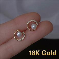 cshapedstudearring, Fashion, Pearl Earrings, gold