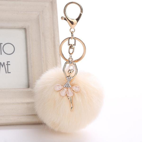 pompomkeychain, Key Chain, Keys, rabbitfurkeychain