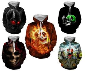 3D hoodies, fashion women, Fashion, skull sweatshirt