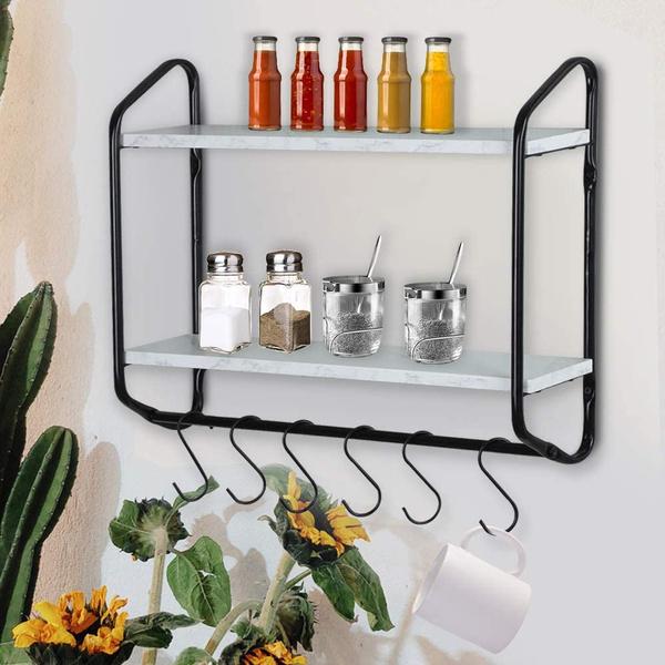 Bathroom, ironandwoodtwolayershelf, Hooks, Shelf