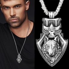 wolfpendantformen, punkpendant, Head, Fashion necklaces