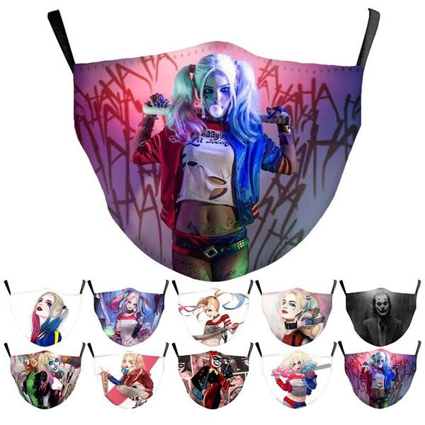 jokermask, harleyquinnfacemask, dustproofmask, Cosplay