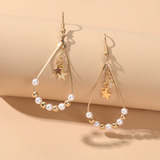 metalbeadearring, dressearringfashion, Jewelry, Pearl Earrings