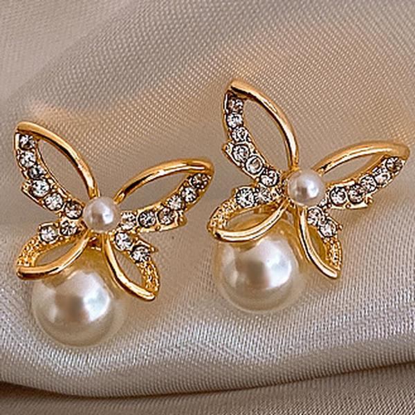 butterfly, 18k gold, Jewelry, wedding earrings