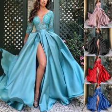 gowns, deepvdresslongsleeve, Lace, robedesoiree