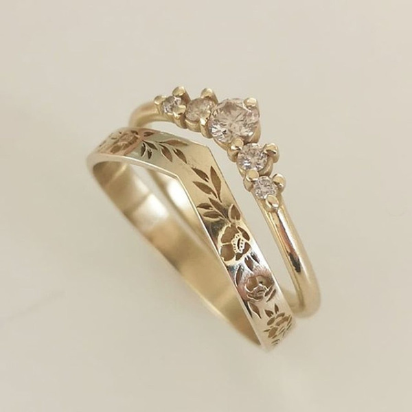 DIAMOND, gold, Wedding, 14k Gold