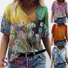 Summer, Loose, Plus size top, short sleeves