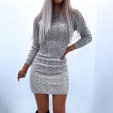 Mini, Woman, sweater dress, Necks