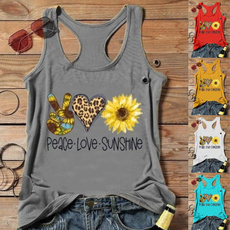 printedtop, Vest, Plus Size, Love