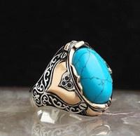 Turquoise, Joyería de pavo reales, namesterlingsilverringidmenweddingring, Gemstone