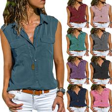 lapel, Plus Size, Shirt, Tops