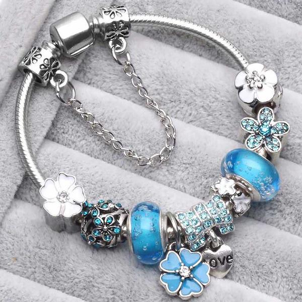 Sterling, Bracelet, Flowers, Jewelry