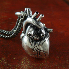 Antique, Heart, Chain Necklace, Fashion