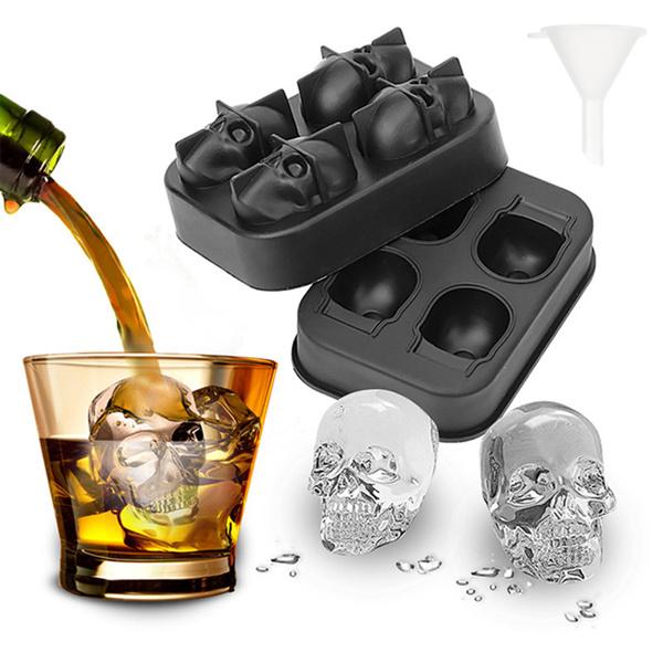 cubettidighiacciowhisky, skullsiliconeicetray, glaçonssquelettedebarre, skull