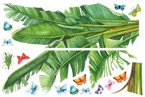 greenleaveswallsticker, Home Decor, tropicalplantswallsticker, 3dwallsticker