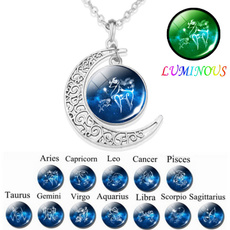 luminousnecklace, zodiaccrescentnecklace, Jewelry, Birthday Gift