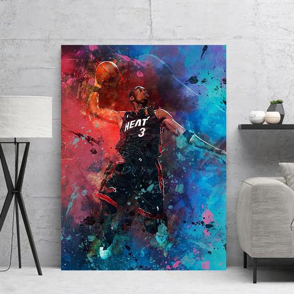 dwyanewadeposter, canvasbasketballplayer, nbaprint, canvaspainting