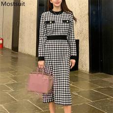 Vintage, Sleeve, long dress, namekoreanidoneck