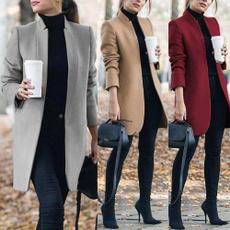 Plus Size, Invierno, solid, Coat