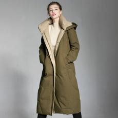 hooded, Winter, Long Coat, Coat