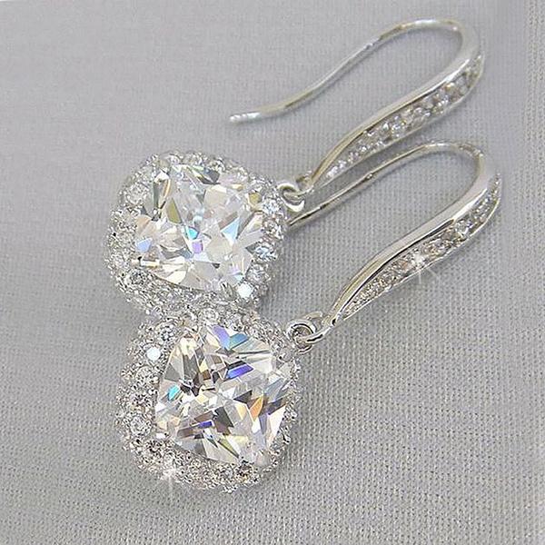 DIAMOND, Jewelry, 925 silver earrings, party earrings
